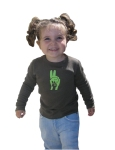 Picture of girl wearing PASS IT ON! tee shirt.