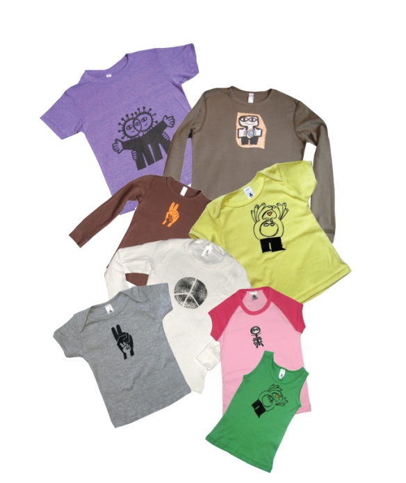 Picture of various tee shirts with designs on them.